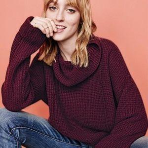 FP Gray Oversize 100% Wool Waffle Knit Sweater LRG